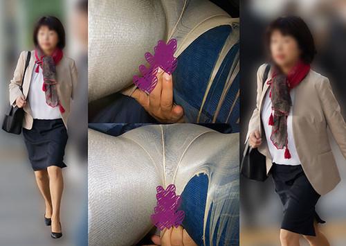 【車内タッチ】頭の先から爪先まで「完璧キャリア女」なのにパンスト引き裂かれるキツ目人妻さん