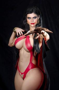 Alexandra Daddario hot Vampirella costume for Halloween party UHQ